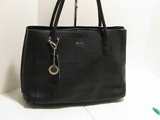 Authentic DKNY Tribeca Genuine Leather Triple Compartment Shoulder Bag - Black