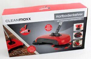 CLEANmaxx Bodenkehrer rot mit 3 Bürsten Kehrbesen Reinigungsmaschine Kehrset