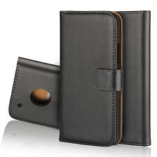 For Motorola Moto G5 5'2 Plus Black Genuine Leather Business Wallet Case Cover