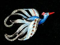 Gorgeous Vintage 1950s enamel & marcasite blue bird of paradise brooch