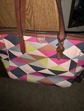 FOSSIL Multi Color Geometric Print Canvas Leather Bag Purse Tote Large