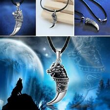 Retro Shape Leather Chain Gift Titanium Punk Totem Necklace Pendant Wolf Tooth
