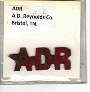 Tobacco Tag A. D Reynolds Co. Bristol, TN. A D R
