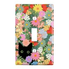 Black Cat Hiding in Spring Flowers Wall Light Switch Plate Cover
