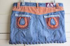 Heatherette Denim Mini Size 11 Jean Skirt Horseshoe Cowgirl Unicorn Rhinestone