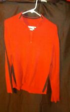 Vintage Men's Tommy Hilfiger Pull-Over Sweater w/ Zipper Red Black Stripe sz Xxl