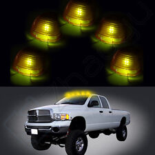 5 Roof Clearance Cab Marker Amber Cover +Free Ice Blue LED Bulbs for Ford F-450