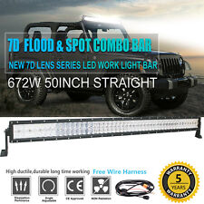 "7D 50INCH 672W CREE SPOT FLOOD LED WORK LIGHT BAR 4WD 4X4 Pickup 52"" Off Road"