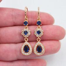 18K Yellow Gold Filled Women Deep Blue Topaz Teardrop Engagement Earrings