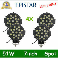 4X 7INCH 51W LED WORK LIGHT SPOT BEAM OFFROAD TRUCK ROUND DRIVING LAMP BLACK OFE