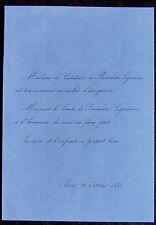 FAIRE PART NAISSANCE COMTESSE DE BOURBON LIGNIERES, 24 OCTOBRE 1856
