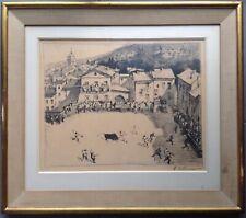 Maurice Élie SARTHOU 1911-99 RARE Lithographie 1934 Corrida Faena village Basque
