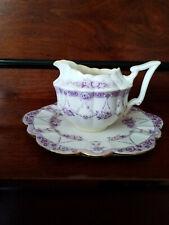 Purple and White 1905 Late Wileman Creamer and Tea Plate