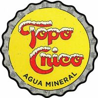 "TOPO CHICO AGUA MINERAL WATER 14"" HEAVY DUTY USA MADE METAL BOTTLE CAP ADV SIGN"