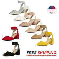 Women's Chunky Heel Pump Shoes Elastic Ankle Strap Pointed Toe Pump Dress Shoes