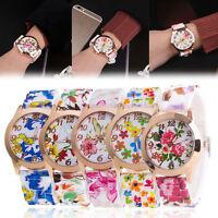 Women's Silicone Printed Flower Watch Causal Quartz Analog Wrist Watches