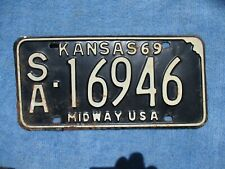 VINTAGE ORIGINAL 1969 KANSAS LICENSE TAG SA 16946 PLATE WALL HANGER  MAN CAVE