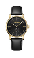 Wenger Mens 01.1741.101 Swiss Made Black Dial Stainless Steel Leather Band Watch