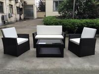 Rattan Garden Furniture Weave Wicker Sofa Set Conservatory Set Dark Brown Roma
