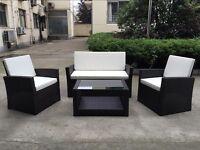 Rattan Garden Furniture Weave Wicker Sofa Set Conservatory Set Dark Brown Roma