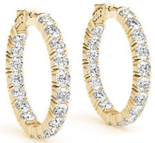 Hoop Earring 20 x 0.30 ct 0.60 inch 6.02 carat Round cut Diamond 14k Yellow Gold