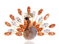 Synthetic Topaz Brown Spring Feather Coil Peacock Crystal Rhinestone Pin Brooch