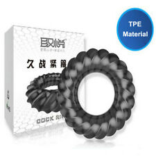 Men's Ribbed Ring Black Thicker Super Stretchy Cock_Penis Ring Erection Sexy Toy