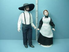 Miniature Amish Couple Dollhouse Dolls Handcrafted Porcelain Cindys Dollhouse