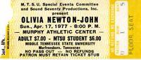 OLIVIA NEWTON-JOHN 1977 MIDDLE TENNESSEE STATE UNIVERSITY CONCERT TICKET STUB-EX