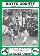 Football Programme>NOTTS COUNTY v NEWPORT COUNTY Sept 1980 FLC