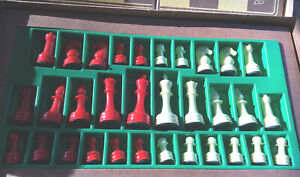 Vintage 1940s' E.S. Lowe Chess Set No. 838 Red and White