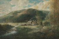 Bezeichnet Otto Hessler - Blick auf ein Dorf mit Bergen