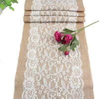 Rustic Burlap Table Runner With Flower Pattern Lace For Party Home Table Decor