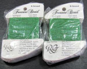 12xNeedlepoint/Embroidery THREAD R GALLERY Treasure 8 Brd metallic-green-RG36