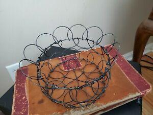 Primitive Wire Egg Baskets -Collapse for Storage + Plastic Eggs