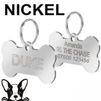 Engraved Pet Tags Nickel DOG CAT ID Disc Free P&P Deep Engraving Name Identity