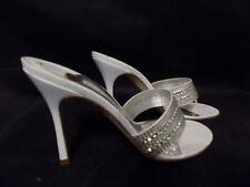 Gina Swarovski Tatiana String Blanc Sandales Chaussures Mules UK taille 7 portée deux fois