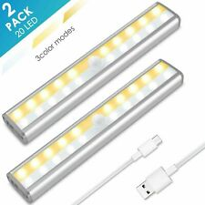 20 LED Motion Sensor Closet Lights USB Rechargeable Wireless Under Cabinet Light