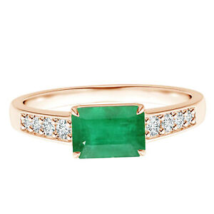 East-West Radiant Cut Emerald Gemstone With Simulated Diamond 9K Rose Gold