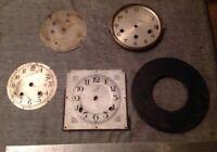 Antique Clock Dials Faces Ex Clockmakers Spare Parts