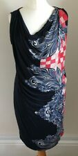 Autograph Size 12 Ladies Blue Dress With Blue & Red Print Detail, BNWT