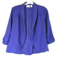 Chico's Blazer Jacket Blue Medium Sz 1 Womens Open Front Ruched 3/4 Sleeve CB94M