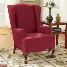 NEW Sure Fit Stretch vegan Suede Wing Chair Slipcover Burgandy red wind 1 piece