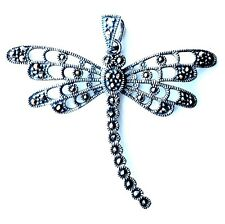 Marcasite DRAGONFLY PENDANT .925 STERLING SILVER Marcasite Stone Studded