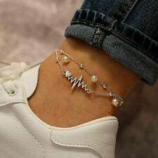 Anklet Bracelet Women Ankle Jewelry 2Pcs/Set Fashion Multilayer Pearl Ecg Heart