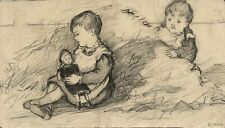 Ethel M. Mallinson, Children Playing with Doll – 1908 charcoal drawing