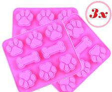 Set of 3 Silicone Mold Pet Paws Paw Prints Dog Animal candy Chocolate DIY Soap