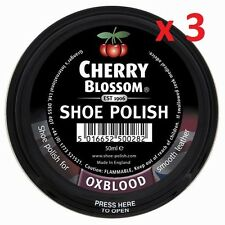 3 Tins Ox Blood Cherry Blossom Shoe boot Polish 50ml Made In The Uk