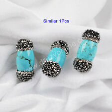 Similar 1Pcs  5Pcs Paved Cylinder Turquoise Bead With Zircon AJ010