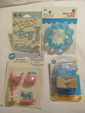 Baby Shower Cake Candles Teether Stickers & Furniture Corner Cushions Lot of 3